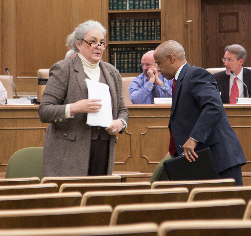 In this 2011 photo, Tennessee Education Lottery President and CEO Rebecca Paul Hargrove and her finance officer, Andy Davis, stand after completing a presentation to a state Senate task force in Nashville.