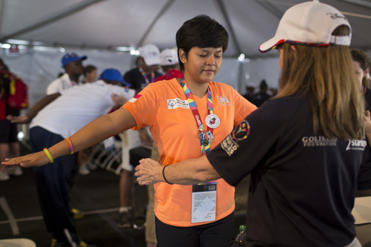 Mst Kakoli of Bangledesh takes part in a physical therapy exam at the Healthy Athletes clinic on the University of Southern California campus on Tuesday, July 28, 2015. The Healthy Athletes program also provides free podiatry, audiology and vision examinations.