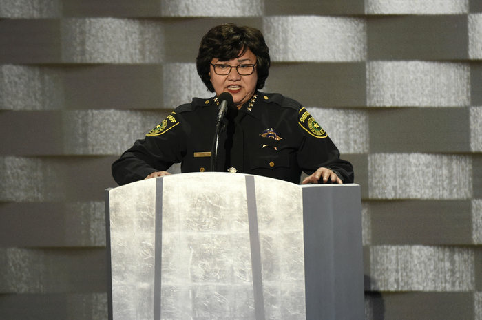 Dallas County Sheriff Lupe Valdez speaks during the Democratic National Convention in Philadelphia on July 28. Valdez has changed how Dallas County deals with some immigration hold requests from the federal government.