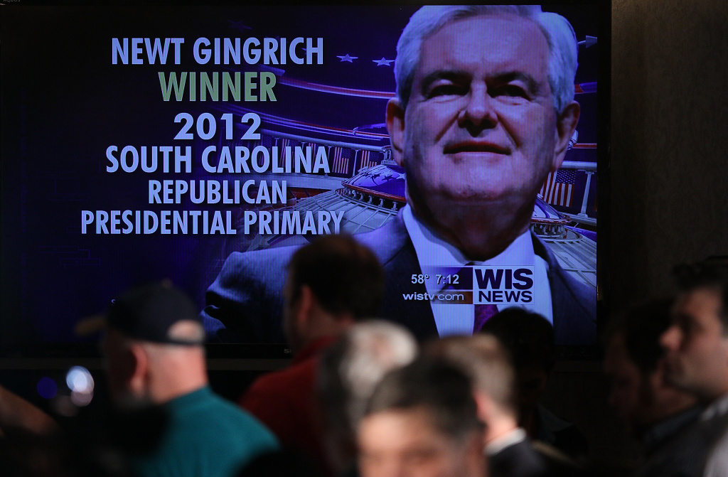 The image of Republican presidential candidate, former Speaker of the House Newt Gingrich is projected on a screen at a primary night rally as he is announced as the winner of the South Carolina primary January 21, 2012 in Columbia, South Carolina.
