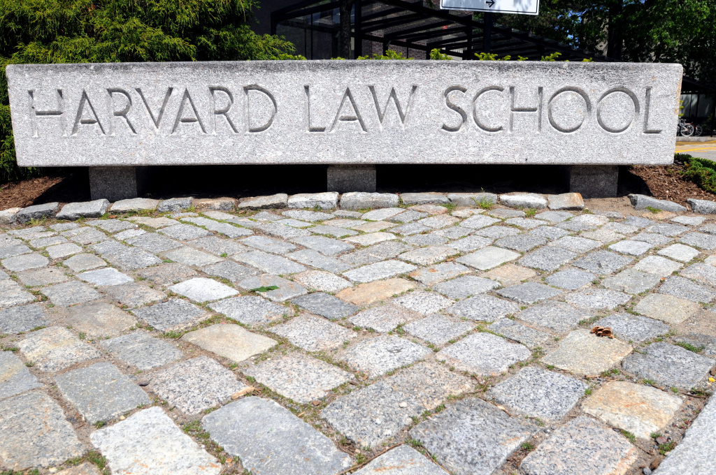 The entrance to Harvard Law School campus is seen May 10, 2010 on the Harvard University Law School Campus in Cambridge, Massachusetts.