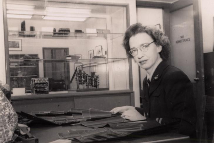 Lt. Grace Murray Hopper sitting at her desk. 1947 [?].