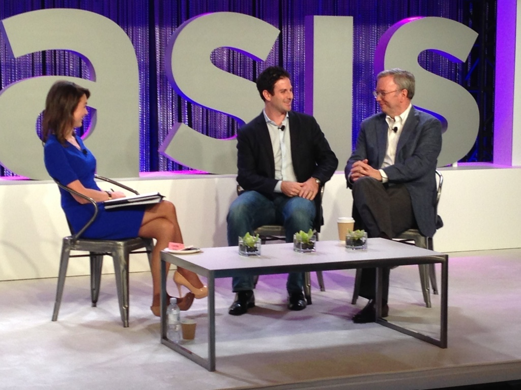 Google Executive Chairman (right) addressed investors and executives at OASIS: The Montgomery Conference in Santa Monica Wednesday.
