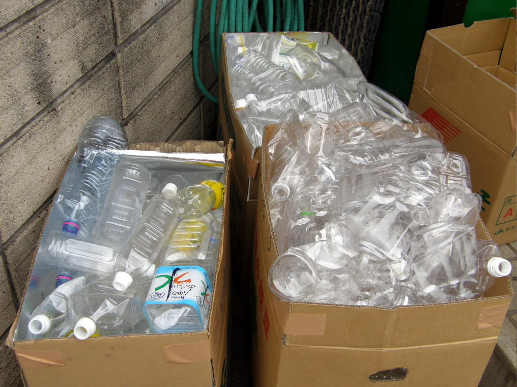 Plastic bottles packed for shipping to a recycling plant.