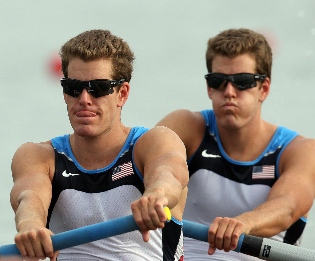 Tyler Winklevoss and Cameron Winklevoss at the start of the men's pair final during the 2008 Beijing Olympic Games in Beijing. The twins have started a venture capital fund and are looking to establish an office in L.A.