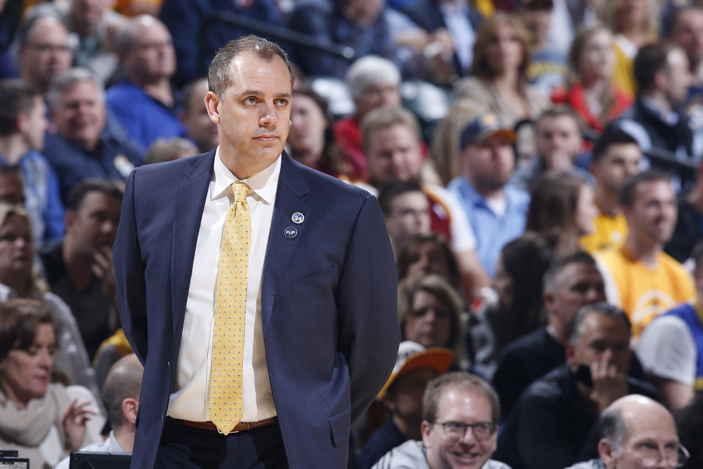Frank Vogel, former head coach of the Indiana Pacers, looks on against the Cleveland Cavaliers in the first half of the game at Bankers Life Fieldhouse on February 1, 2016 in Indianapolis, Indiana.