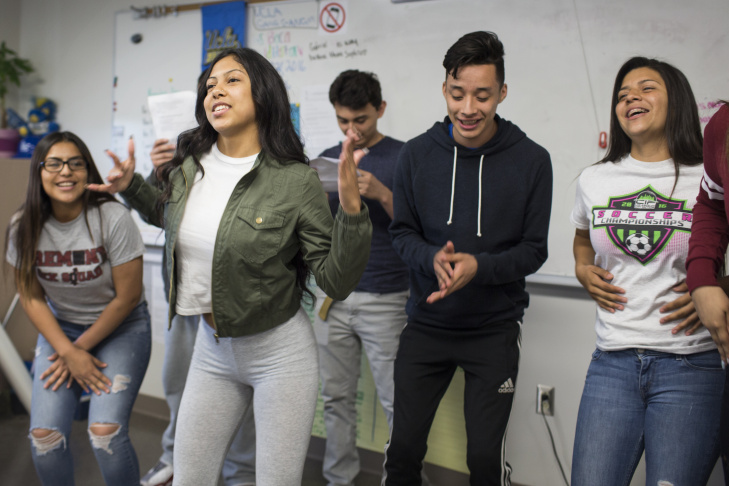 Seniors Adelita Quiñones, left, and Gerardo Torres take part in a performance by the Sex Squad at Fremont High School on Thursday, April 21, 2016. The group is an improvisational theater-based sex education program.