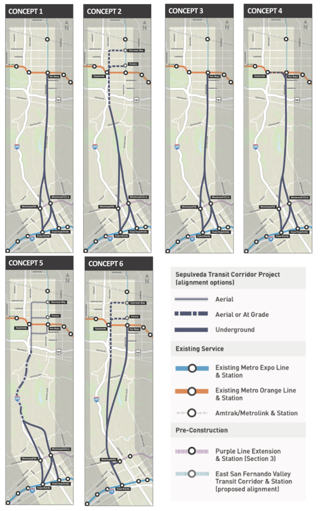 Maps of the potential routes, for the proposed Sepulveda transit center project.
