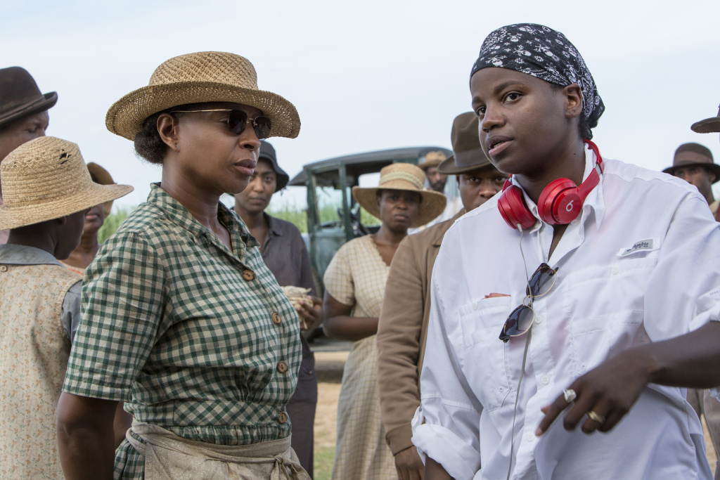 Mary J. Blige, left, and director Dee Rees on the set of