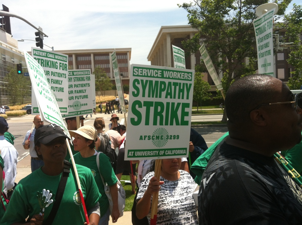 File: Health workers at University of California medical centers began a two-day strike on Tuesday, May 21st with a walkout at 4 a.m. that potentially affects thousands of employees and led to the postponement and rescheduling of some patient surgeries and appointments.