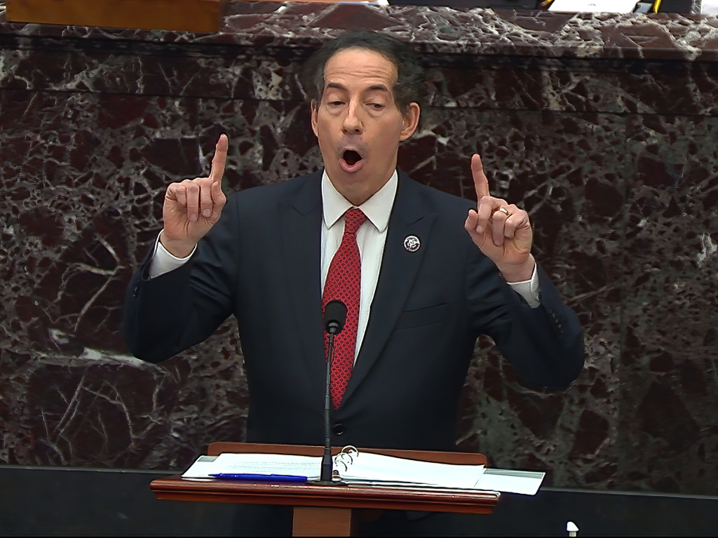 House impeachment manager Rep. Jamie Raskin, D-Md., opened the Senate impeachment trial of former President Donald Trump with a personal speech and a disturbing video montage of the attack on the Capitol on Jan. 6.