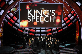 The cast and crew of 'The King's Speech,' celebrates their trophy for Best Movie at the 83rd Annual Academy Awards.