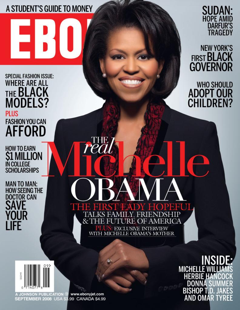 The September, 2008 cover of Ebony Magazine.