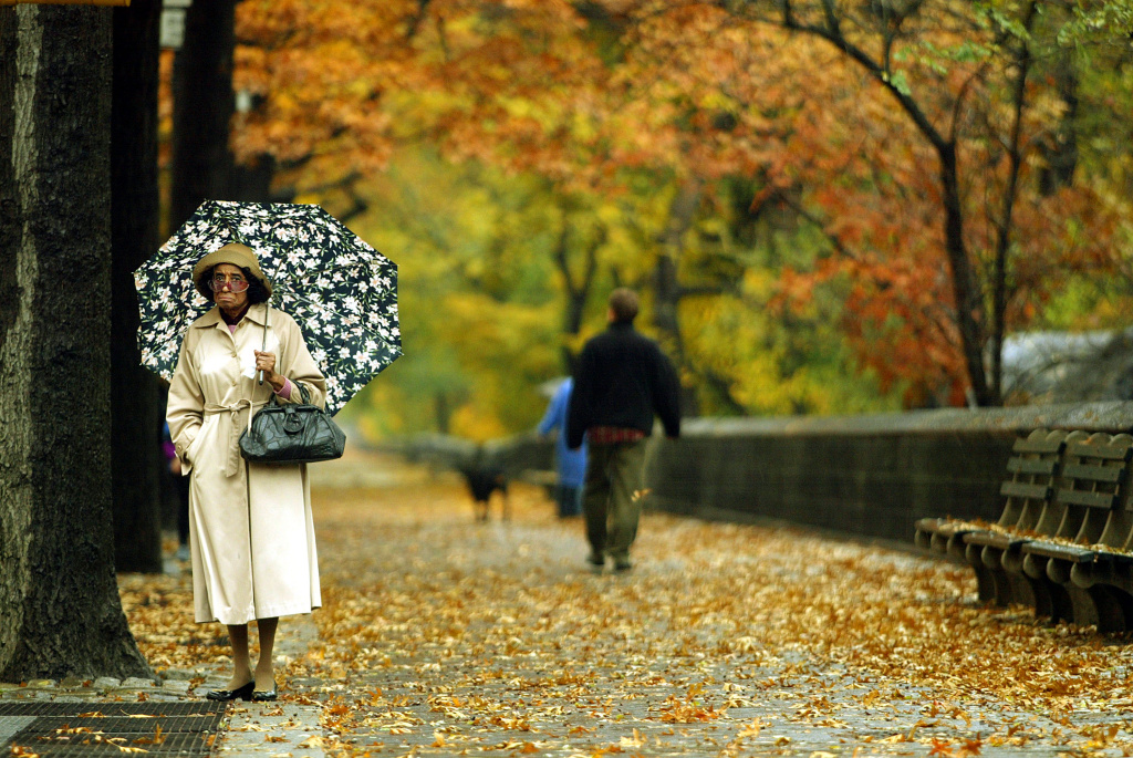 A woman stands in the rain beneath the fall foliage in Central Park on November 12, 2002 in New York City.