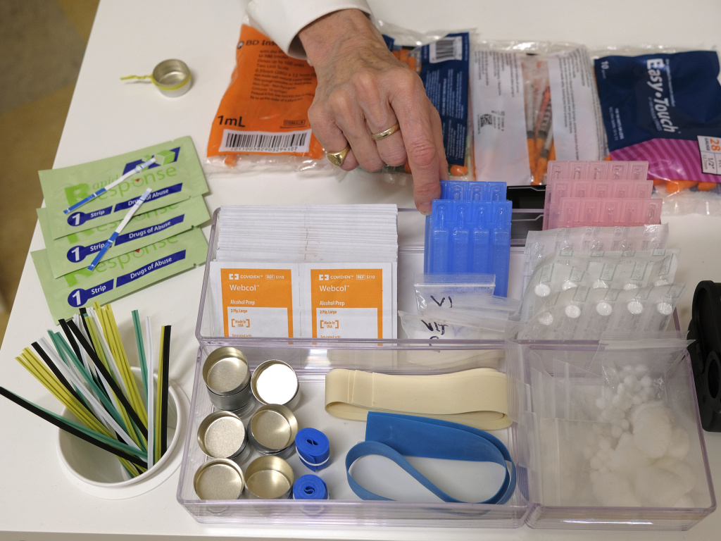 Supplies on a check-in desk at a model of a hypothetical  injection site in San Francisco, pictured here in September 2018. Local leaders from San Francisco are among a dozen local officials urging a federal court to approve of an effort to open a supervised injection site in Philadelphia.