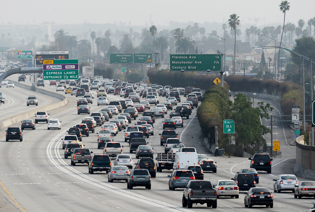 FILE: Traffic on the northbound and southbound lanes of the 110 Harbor Freeway starts to stack up during rush-hour traffic on Feb. 5, 2013 in Los Angeles