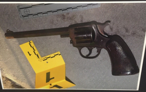 An LAPD photo of the gun recovered at the scene of the shooting of 14-year-old Jesse Romero.