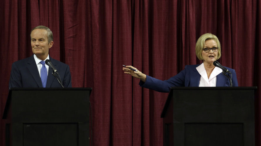 Republican Rep. Todd Akin and incumbent Democratic Sen. Claire McCaskill debate Friday in Columbia, Mo. McCaskill had once been considered among the most vulnerable Senate Democrats until Akin made comments about