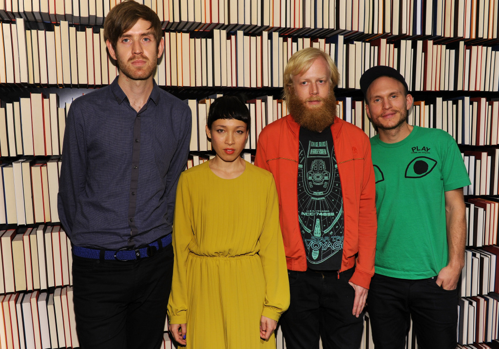 Singer Yukimi Nagano (2nd from L) and band members of  Little Dragon attend the Mulberry Mix Tape Tour at Mulberry Store on October 13, 2011 in New York City.