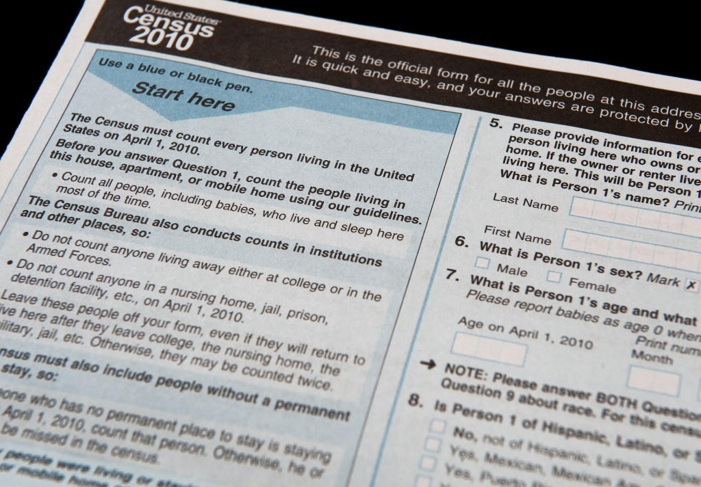 The official US Census form, pictured on March 18, 2010.