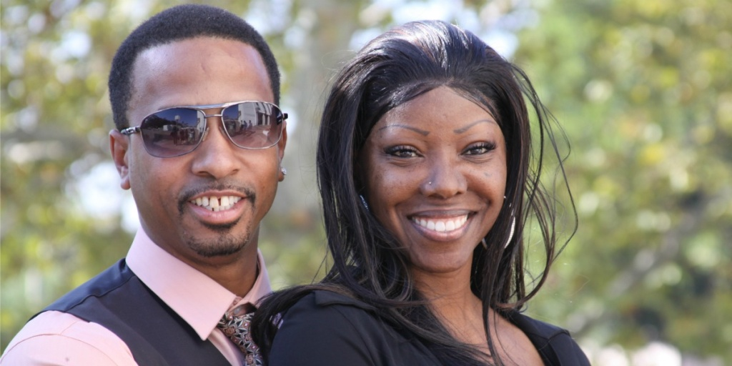 Obie Anthony and his fiance, Denise Merchant, outside the Compton Superior Courthouse.