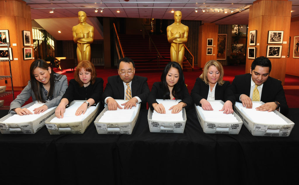 Accountants at from PricewaterhouseCoopers prepare ballots at the 84th Academy Awards Final Oscar Ballot mailing at the Academy of Motion Picture Arts and Sciences on February 1, 2012 in Beverly Hills, California.