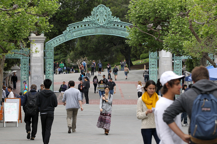 UC Berkeley students walk through Sproul Plaza on the UC Berkeley campus April 23, 2012 in Berkeley, California. According to Matt Carmichael, Livability's editor, cities at the top of the livability list were often home to a major institution like a university, hospital or state capital.