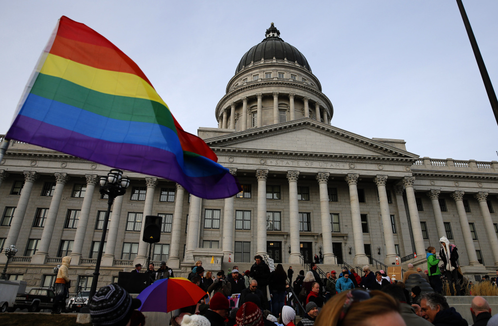 SLAT LAKE CITY, UT - JANUARY 28: Supporters hold a pro-gay marriage rally outside the Utah State Capitol on January 28, 2014 in Salt Lake City, Utah. Several weeks ago a federal judge ruled unconstitutional a voter-approved ban on same-sex marriage in the state of Utah. The ruling has since been stayed and is working it's way through the legal system. (Photo by George Frey/Getty Images)