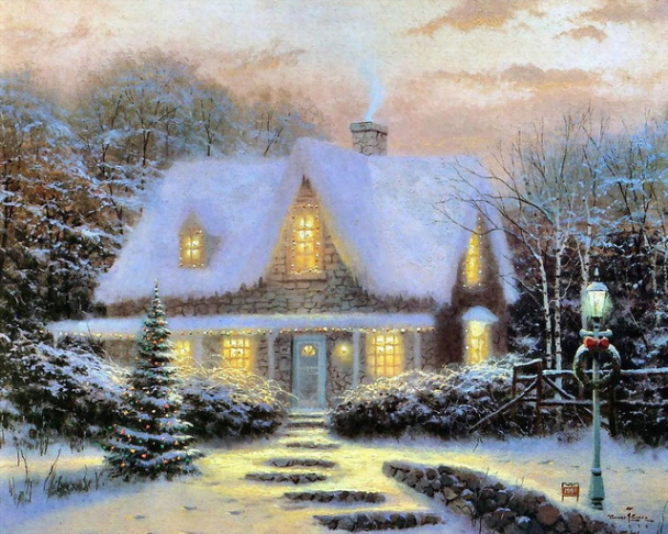 Artwork by Thomas Kinkade. (Image courtesy Lara Henshingly/flickr/Creative Commons)