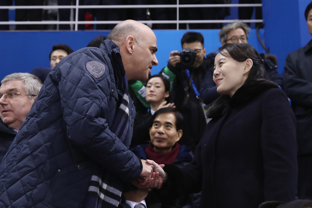 Swiss President Alain Berset shakes hands with Kim Yo-jong, sister of North Korean leader Kim Jong-un, during the Women's Ice Hockey game between Switzerland and Korea on day one of the PyeongChang 2018 Winter Olympic Games on February 10, 2018.
