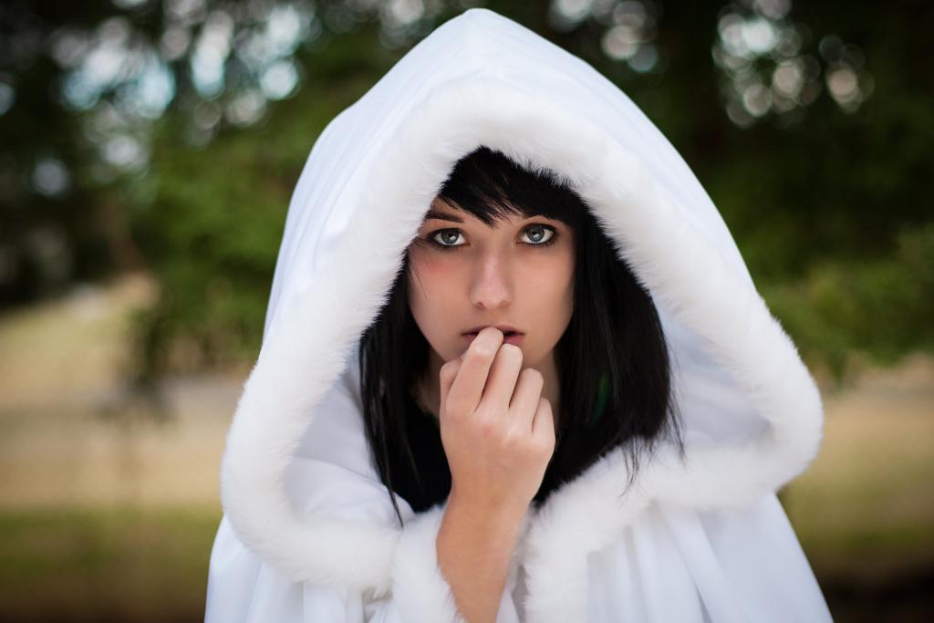 teeange girl woman white hood goth