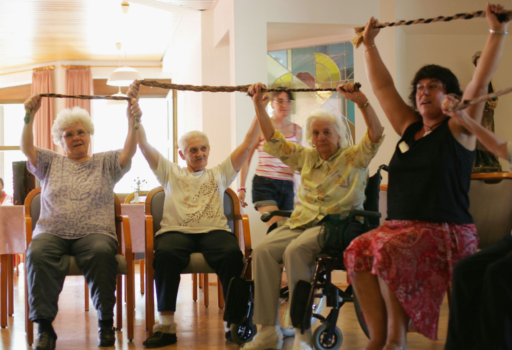 Residents exercise in a nursing home. The University of British Columbia released a new study on Tuesday, linking strength training to better brain function.