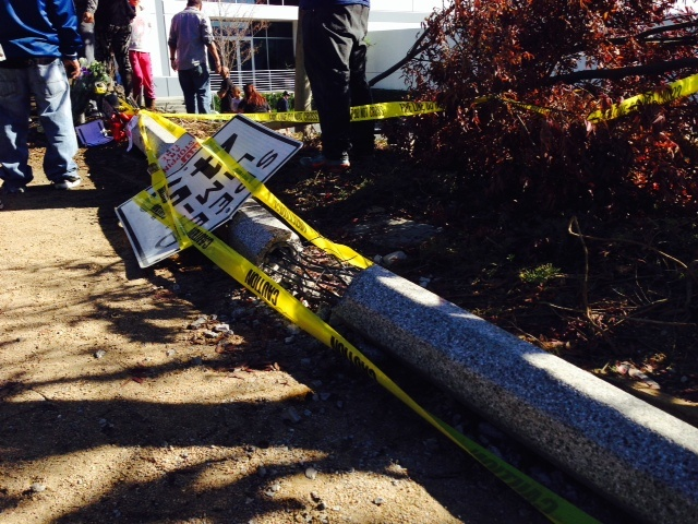 A pole reportedly struck by the car that carried Paul Walker and Roger Rodas lies broken at the scene of the crash in Valencia.