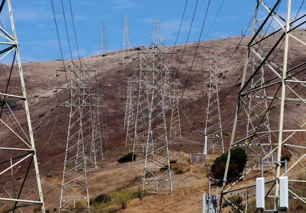 Towers carrying electical lines are shown in South San Francisco, California. File photo.