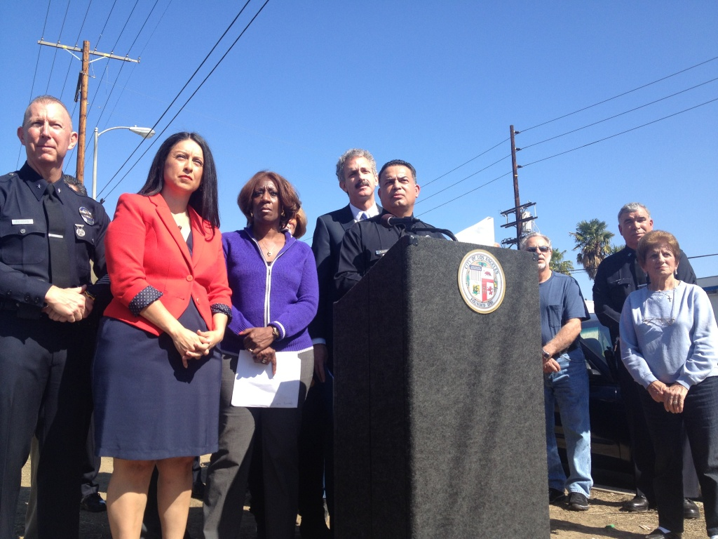 Politicians and law enforcement officials from the City of Los Angeles announce two diversion programs aimed at people arrested for prostitution as a way to rid the Sun Valley and Van Nuys areas of the problem.