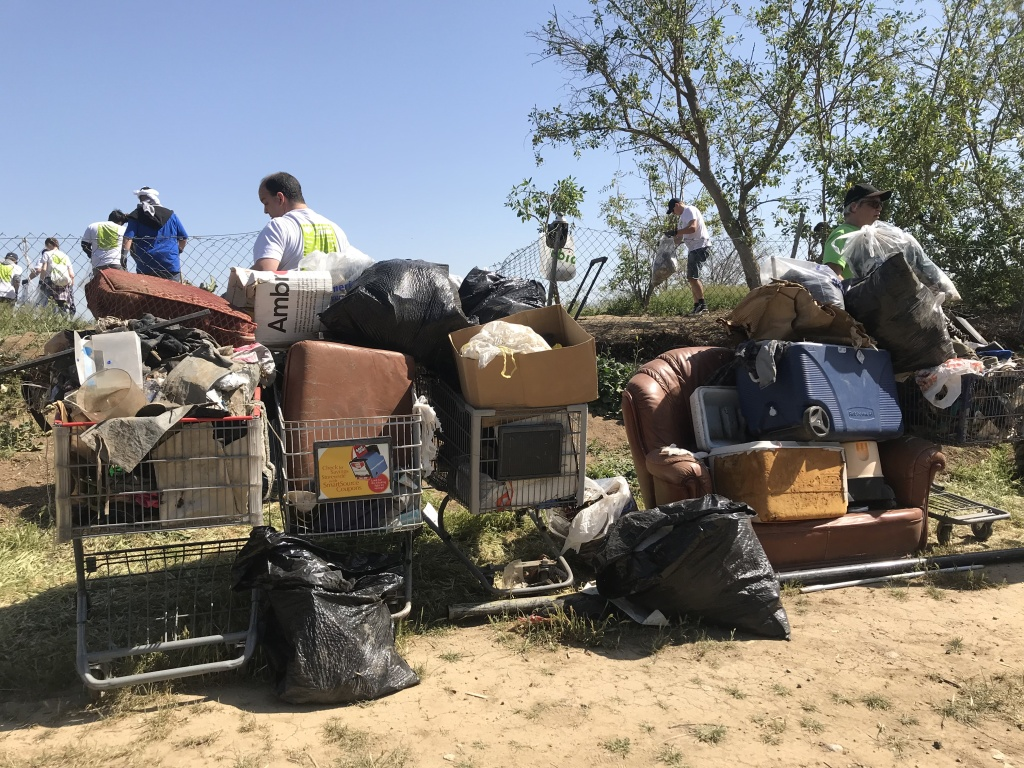 Garbage collected from an abandoned homeless camp on the riverbank. Photo credit: Audrey Alden