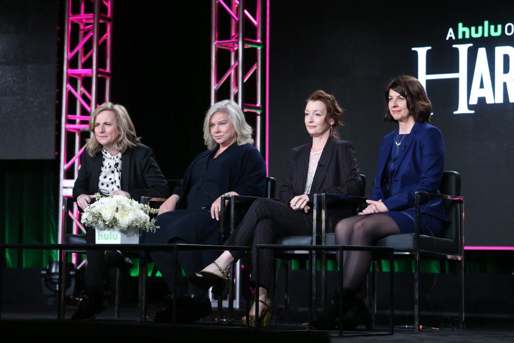 (L-R) Executive producers Debra Hayward, Alison Owen, actress Lesley Manville, and executive producer Moira Buffini of Hulu's Original Series 'Harlots.'