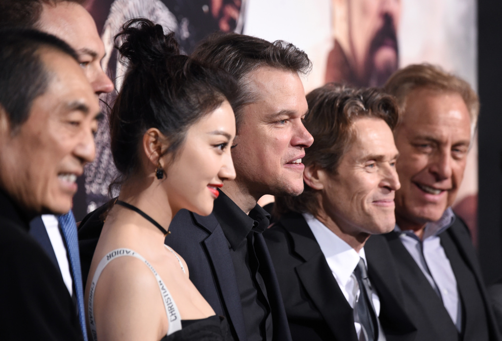 (L-R) Director Zhang Yimou, producer Thomas Tull, actors Jing Tian, Matt Damon, and Willem Dafoe, and producer Charles Roven attend the premiere of Universal Pictures'