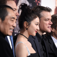 "(L-R) Director Zhang Yimou, producer Thomas Tull, actors Jing Tian, Matt Damon, and Willem Dafoe, and producer Charles Roven attend the premiere of Universal Pictures' ""The Great Wall."""