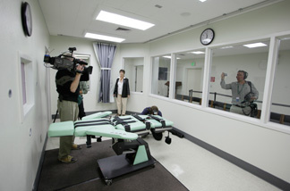 Reporters tour the new lethal injection facility at San Quentin State Prison in San Quentin, Calif., Tuesday, Sept. 21, 2010. The new facility cost $853,000 and the work was performed by the inmate ward labor program.