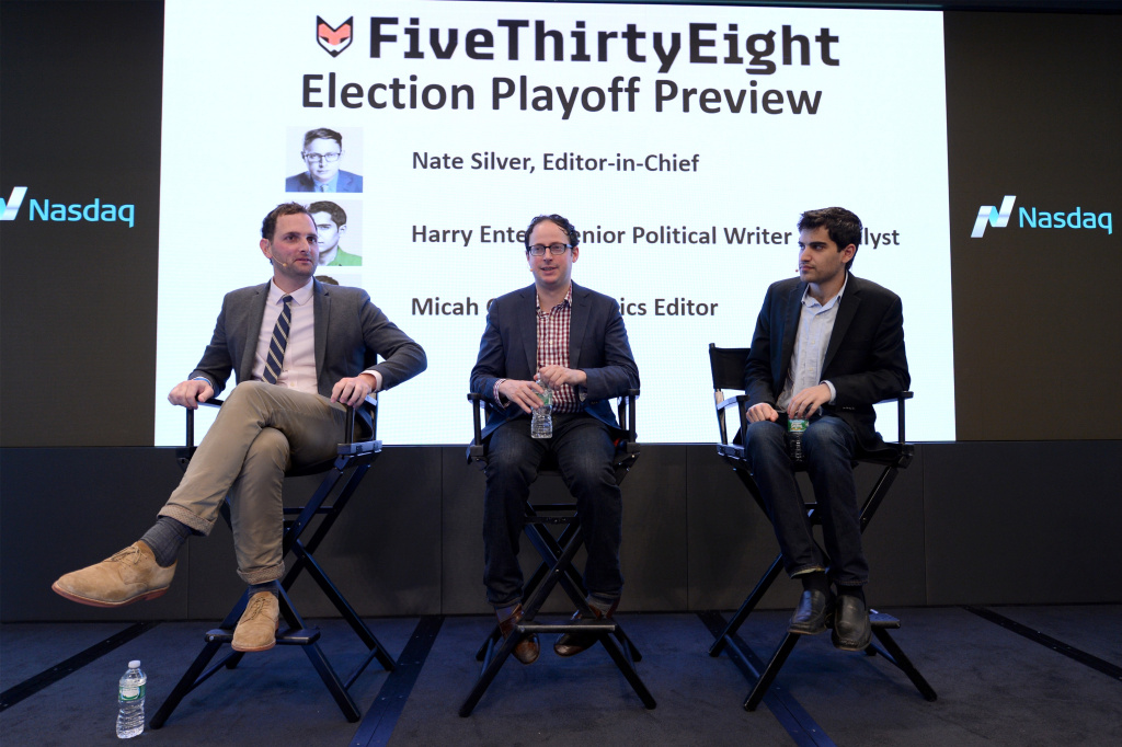 FiveThirtyEight Politics Editor Michah Cohen, FiveThirtyEight Statistician, Author and Founder Nate Silver, and FiveThirtyEight Senior Political Writer and Analyst Harry Enten speak onstage at the Nate Silver and FiveThirtyEight: The Election Playoff Preview panel on September 30, 2015 in New York City.