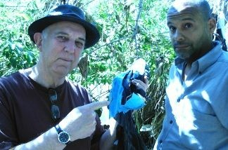 FOLAR's Lewis MacAdams and Brian Watt with some of the trash you can find in the LA River.