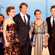 (L-R)  Actress Amber Heard, director Tom Hooper, actors Alicia Vikander, Eddie Redmayne and Matthias Schoenaerts attend a premiere for 'The Danish Girl' during the 72nd Venice Film Festival.