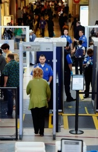 Transportation Security Administration (TSA) agents screen passengers at Los Angeles International Airport on May 2, 2011 in Los Angeles, California.