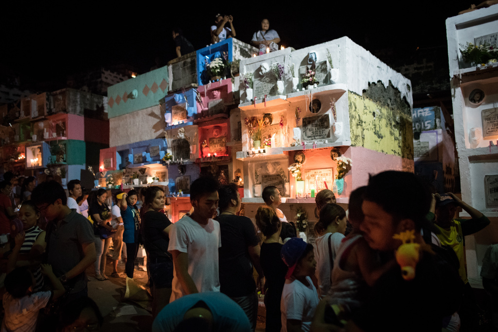 Filipinos flock to cemeteries around the country to visit departed relatives and loved ones as they mark All Saints Day on November 1, 2016 in Manila, Philippines.