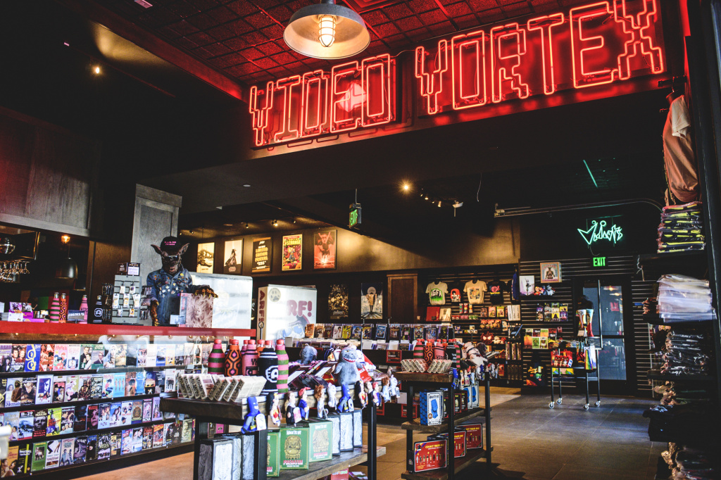 The new L.A. outpost of Alamo Drafthouse includes a store where customers can rent DVDs for free.
