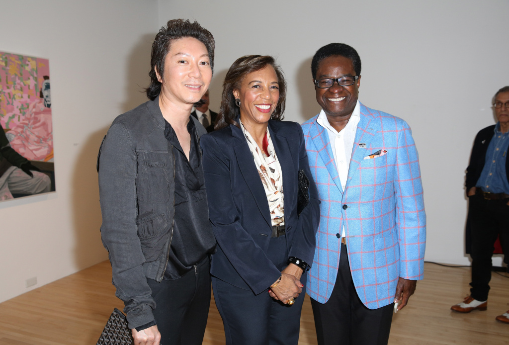 LOS ANGELES, CA - MARCH 11:  (L-R) Dr. Hao Nguyen, Gianna Drake-Kerrison and Demetrio Kerrison attend MOCA's Leadership Circle and Members' Opening of Kerry James Marshall: Mastry at MOCA Grand Avenue on March 11, 2017 in Los Angeles, California.  (Photo by Rachel Murray/Getty Images for MOCA)