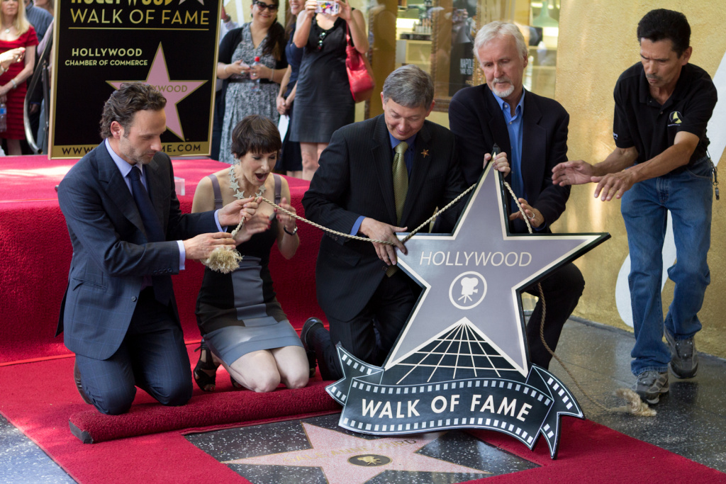 Producer Gale Anne Hurd, known for her work on 'The Terminator,' 'Aliens,' and 'The Walking Dead' is honored with a star on the Hollywood Walk of Fame in Hollywood, Calif., Wednesday, October 4, 2012.  Director James Cameron and Andrew Lincoln, of 'The Walking Dead,' were speakers at the event.