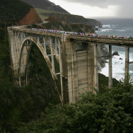 Cyclists cross Bixby Bridge as they compete in Stage 4 of the AMGEN Tour of California on February 22, 2007 near Big Sur, California.