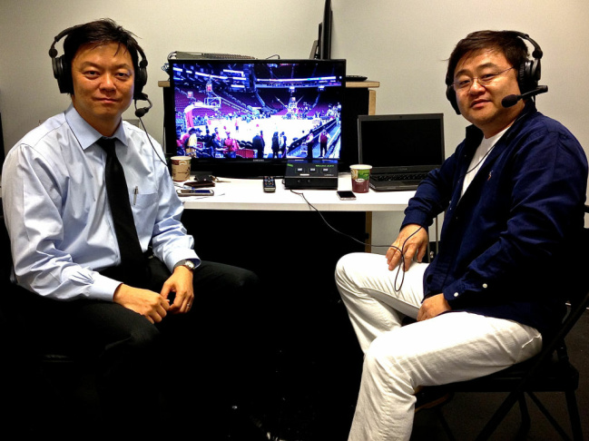 Color commentator Paul Lee (left) and play-by-play man Young Don Lee are the LA Lakers' inaugural Korean broadcasters. It's the first time an NBA team has aired every game in Korean.